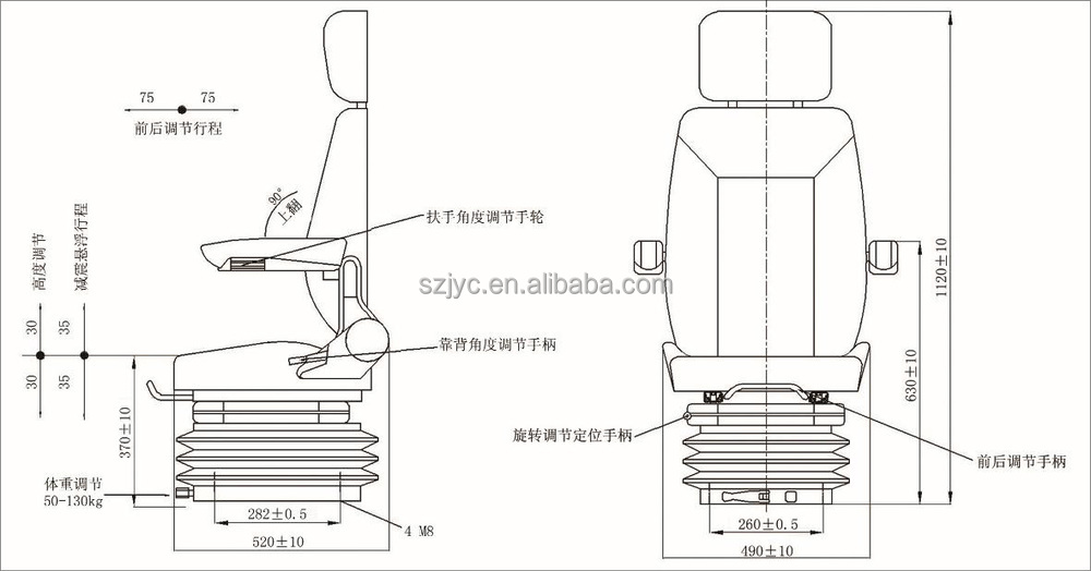 Rotatable Construction Vehicle Seat With Electric Heating