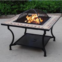 Kingjoy-outdoor Ceramic Table Fire Pit With Bbq Grill ...