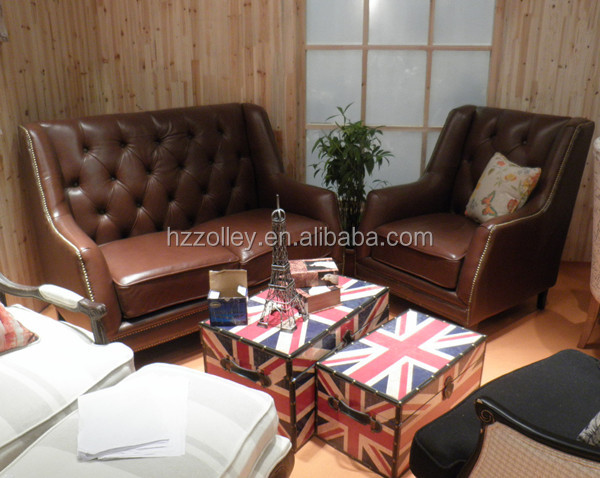 cottage americaine meubles de maison de style salon rembourres brown en cuir chesterfield canape ensemble