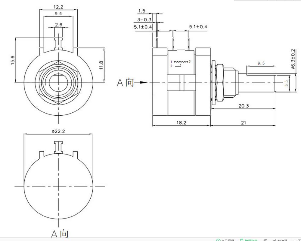 10 Tuns Potentiometer With Copper Shaft Copper Bush Wire