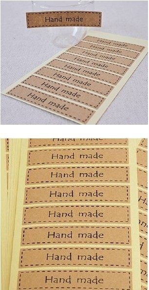 ᗑ】320pcs Sealing Kraft Paper Stickers Hand made Kraft Sticker