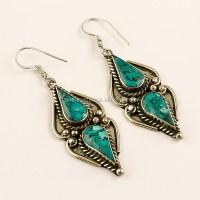 Natural Turquoise Coral Lapis Gemstone Earrings, Handmade ...