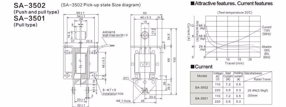 Sa-3502 220v Attractive Force 3kgf 29.4n Stroke 20mm