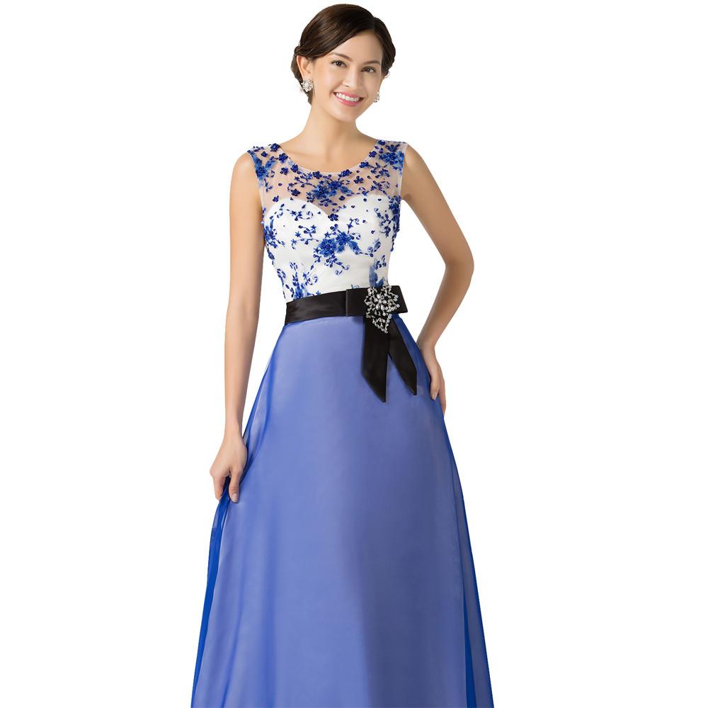 Grace Karin Long Evening Dresses Chiffon Elegant Beautiful Luxury Dinner Formal  Evening Gown with Beading Robe De Soiree 2018 01b7bf0c3b86