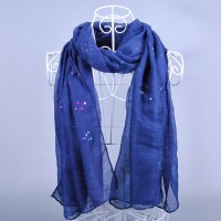 2015 cheap women silk scarves blue gray with sequins light