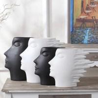 modern minimalist white and black head shape flower vase ...