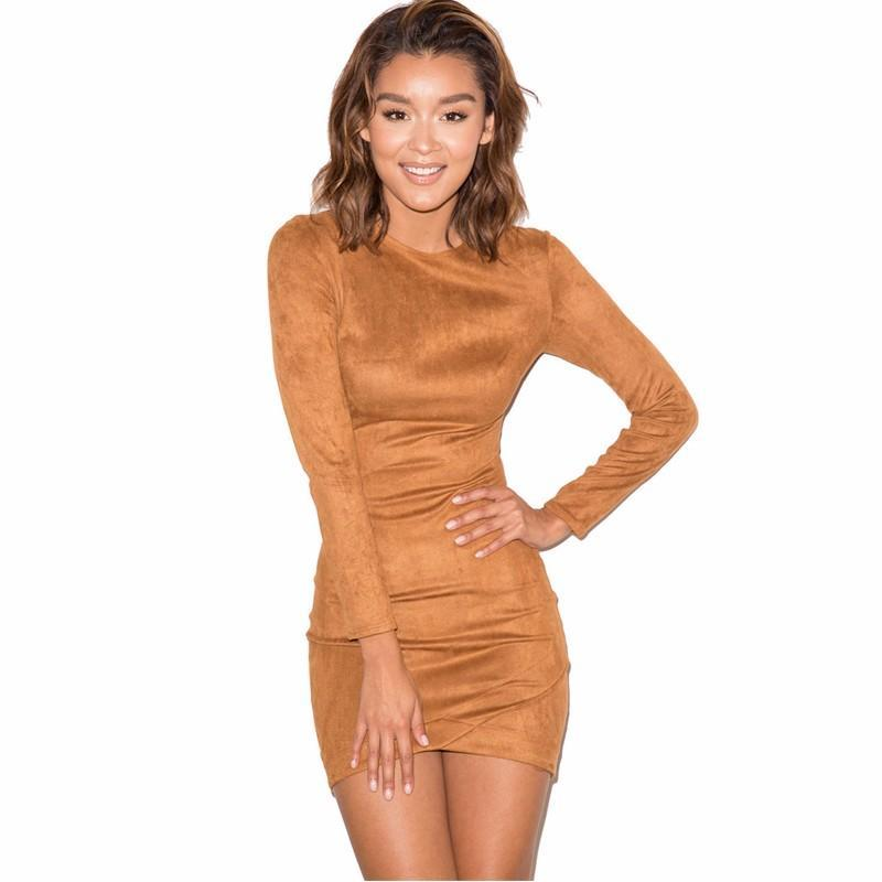 86889d55365d 2018 Party Dress Long Sleeve Slim Sexy Club Brown Vestido Women Winter  Dresses Female Skin Tight Faux Suede Bodycon Dress