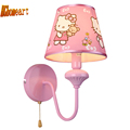 HGhomeart Indoor Lighting Kids Room Pink Bedside Lamp Led E27 110V 220V Wall Lights for Home
