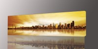 Long Yellow City Painting Canvas Wall Art Picture Print ...