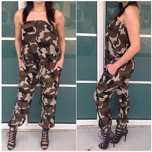 2016 Autumn Army Green Strapless Jumpsuit Loose Size Bodysuit Backless Sexy Piece