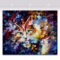 Animal Painting Cat Picture Palette Knife Oil Painting on ...