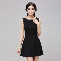 Women Summer Style Sleeveless Slim Fit Little Black White ...