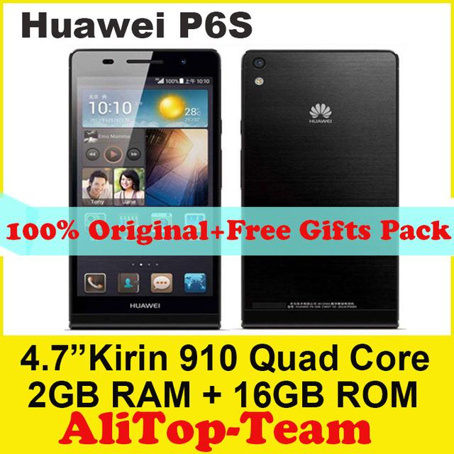 Оригинал Huawei Ascend P6 U06 / P6S сотовых телефонов 4.7 '' IPS четырехъядерных процессоров 1.6 ГГц 2 ГБ оперативной памяти 16 ГБ ROM 5-мп + Android 4.2 WCDMA