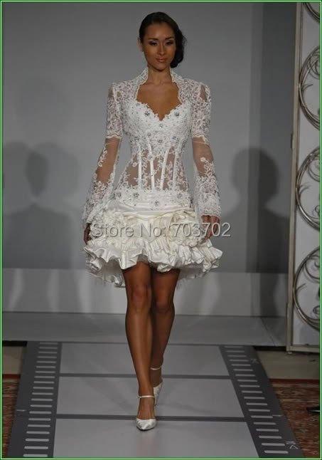 Morden transparent corset short wedding dressin Wedding Dresses from Weddings  Events on