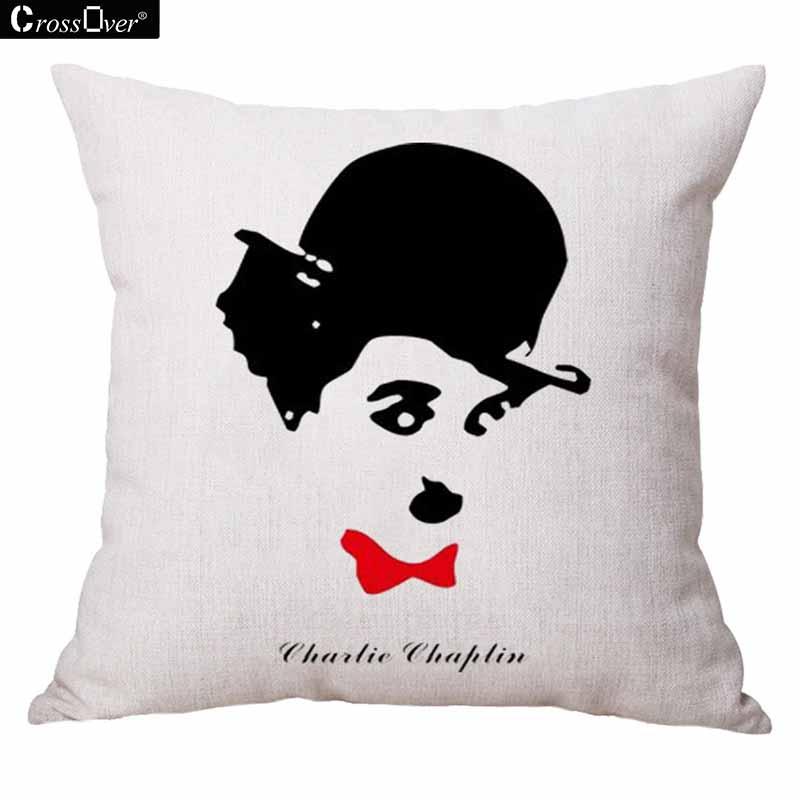 ①Chaplin patrón algodón Lino cojín funda sofá cintura cojines ...
