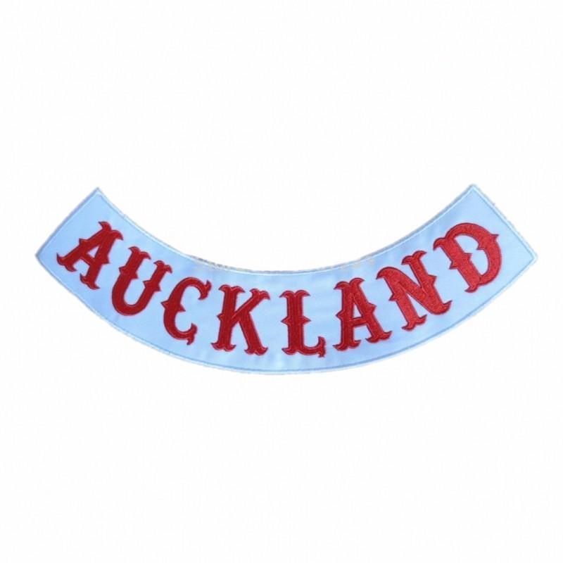 Auckland Custom bottom Rocker red Font Bordado twill biker hierro en ...