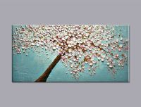 Hand painted modern home decor wall art picture white pink ...