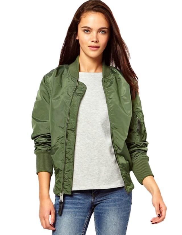 Thin-Womens-Army-Green-Bomber-Jacket-Flight-Jacket-Ma1-Bomber-Military ...