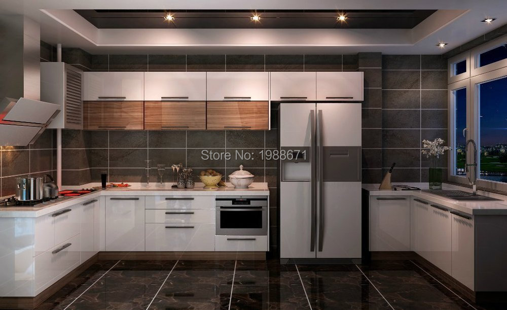 Flashing White Blue High Gloss Lacquer Guangzhou Wholesale Export – High Gloss Lacquer Kitchen Cabinets