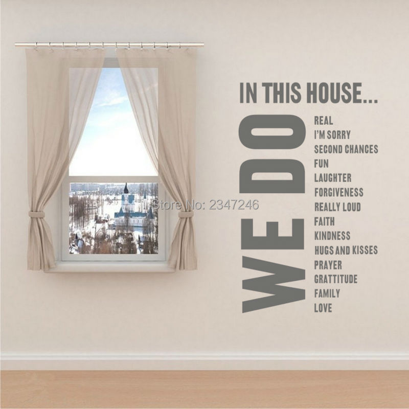 Large House Rules Vinyl Wall Sticker Removable Love Art Mural For