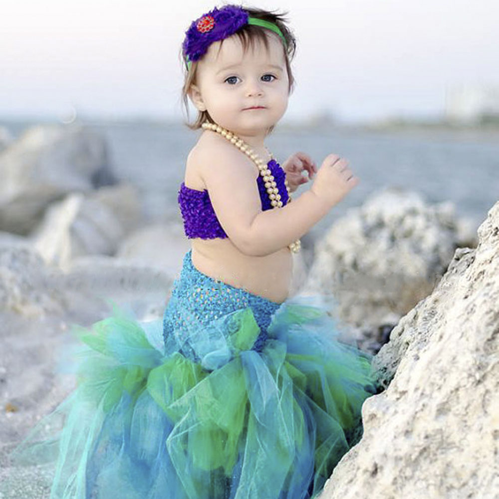 Handmade Girls Formal Dresses Kids Little Mermaid Dress