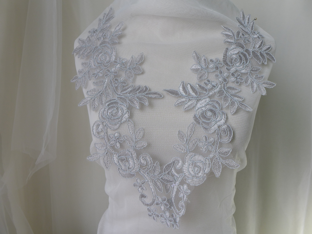 1//3//5M Embroidery Corded Lace Fabric Material DIY Wedding Bridal Dress Gown