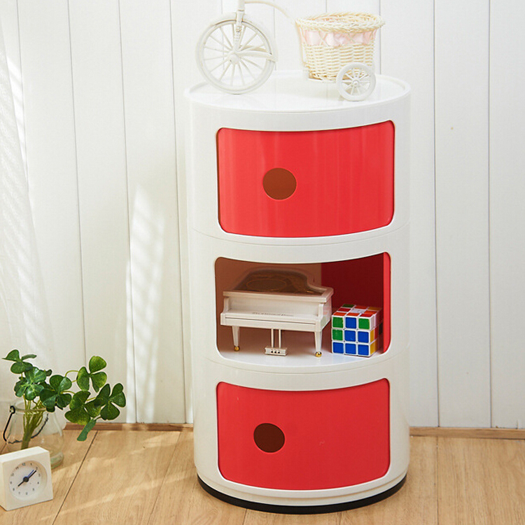 Plastic Round Mini Bedside Lockers Bedroom Corner Cabinet