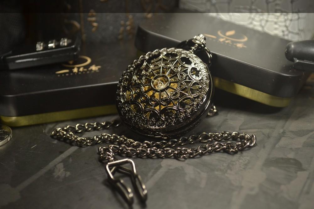 30ab3705727 TIEDAN Esqueleto relógio de Bolso Mecânico Relógios Homens Marca De Luxo  Antigo Bronze Cara Preta relógio de Bolso   Relógio de Bolso Cadeia FobUSD .