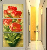 Free shipping new 3pcs Tulip flowers Red And green Wall