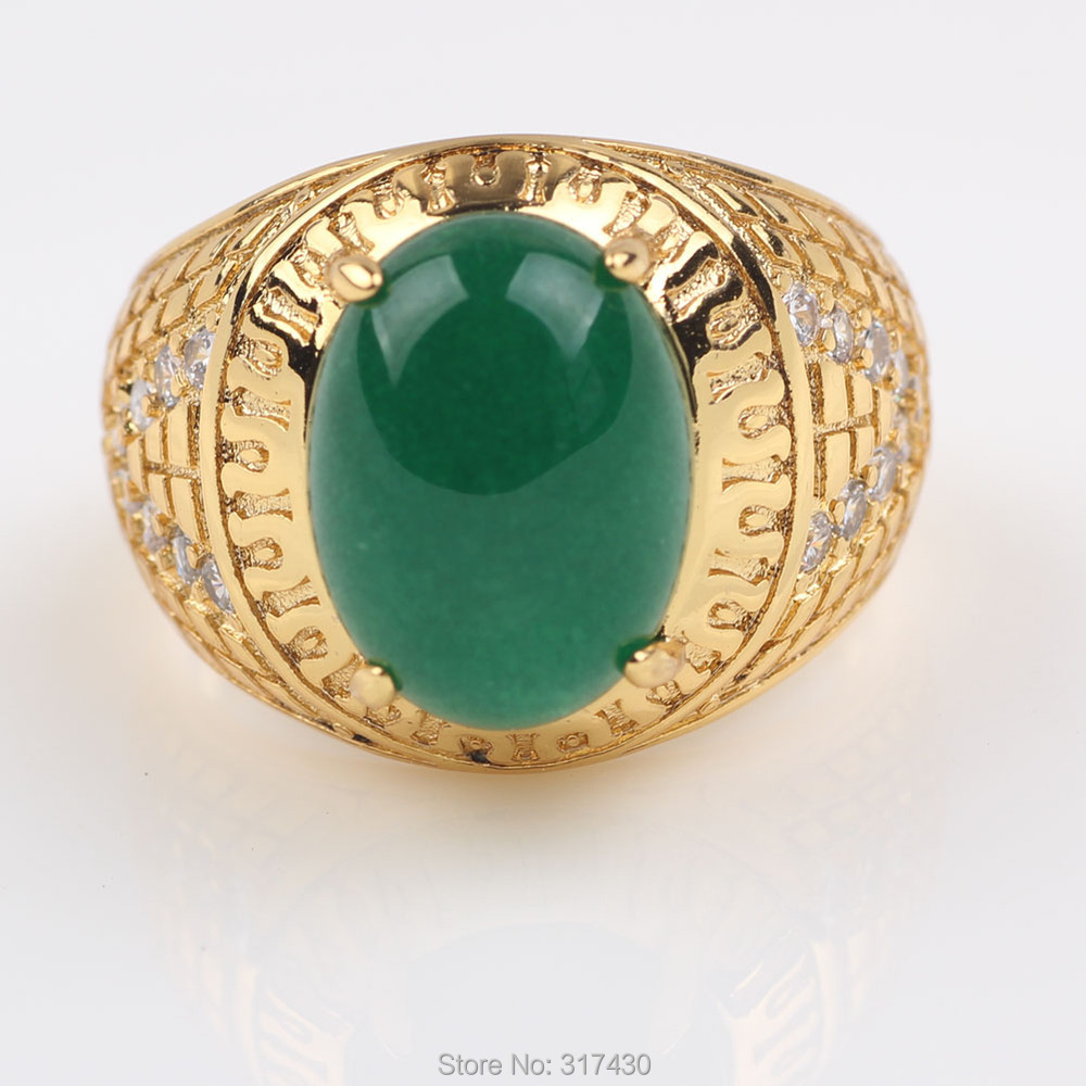 18k Yellow Gold Filled Mens Ring With Emerald Jade Stone