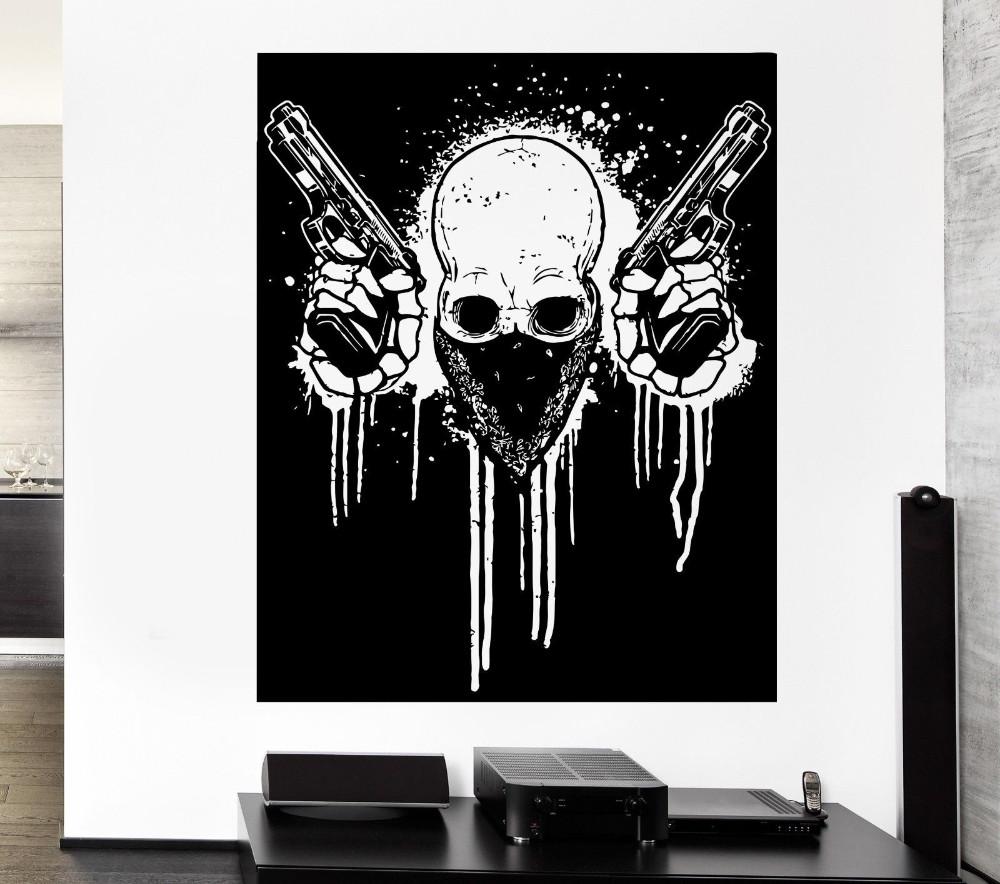 Decalque da parede Crânio Armas Armas Gangster Gangster Criminoso Crime  Decalque Do Vinil 22x28 polegada ... 01e680eaec