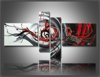 4 pcs/set Large Canvas Art Abstract Oil Painting Black ...