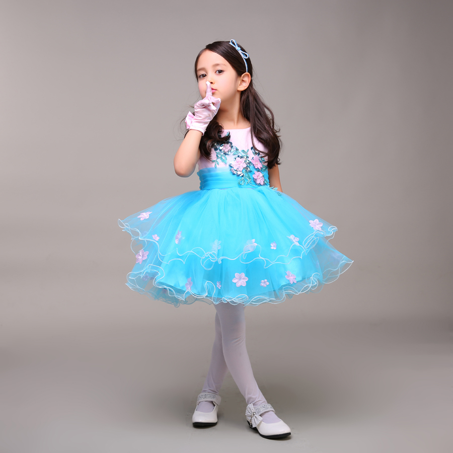 Ice Blue Pink Little Girl Pageant Dress With Flowers Short