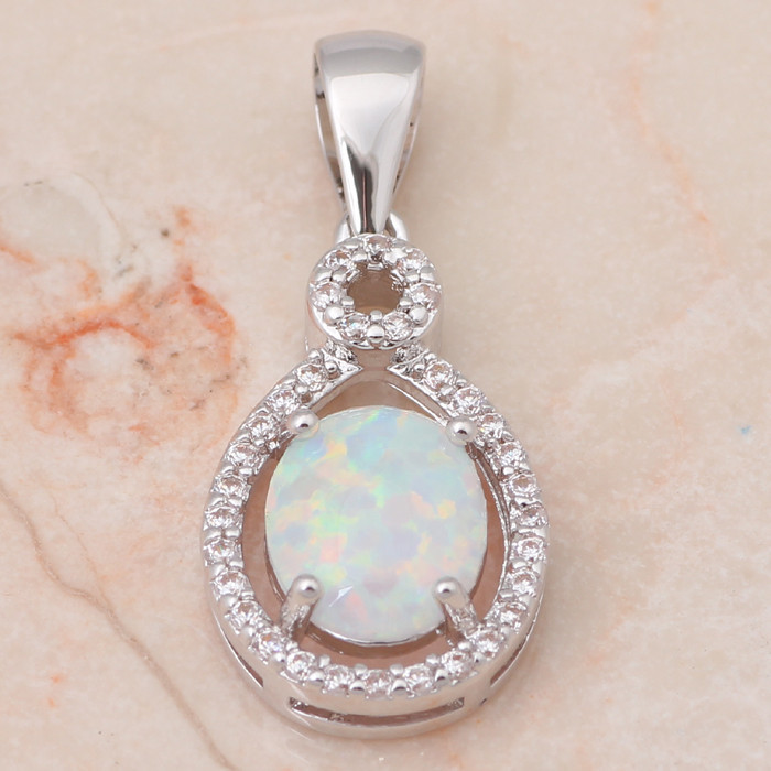 Fashion 925 Bijoux En Argent Cat White Fire Opal Charme Collier Pendentif Chaîne Hot