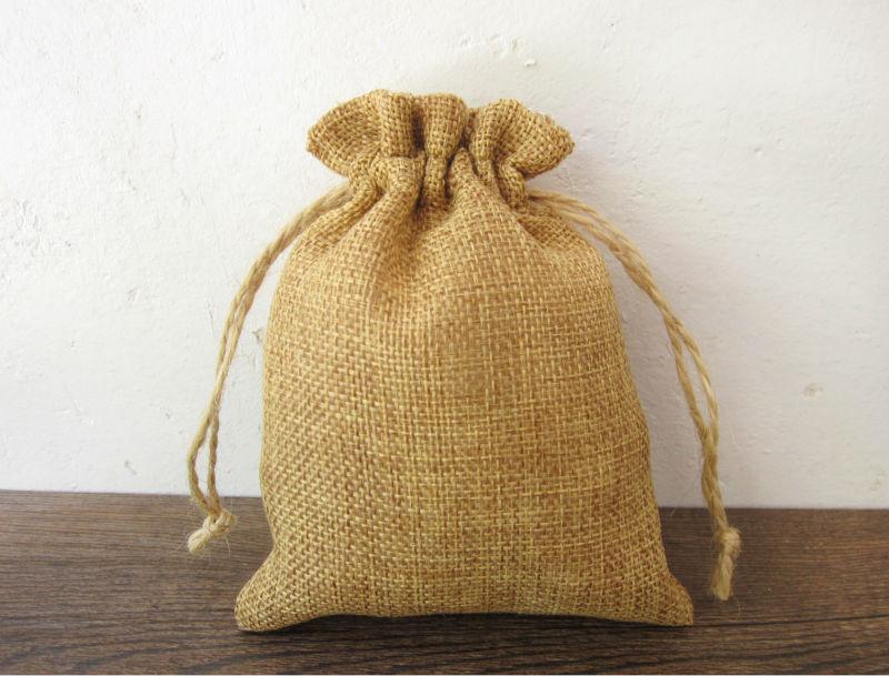 ①(10 unids/lote) lazo Bolsas de tela personalizado yute Bolsas ...