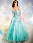 Puffy Long Aqua Prom Dresses
