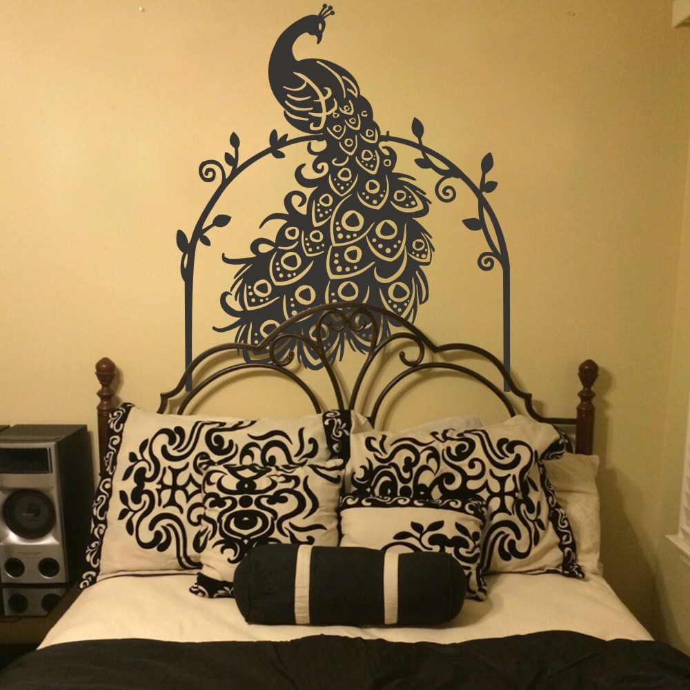 Φ_ΦQuilted Headboard Decal Peacock Wall Decal with Vines Animal ...