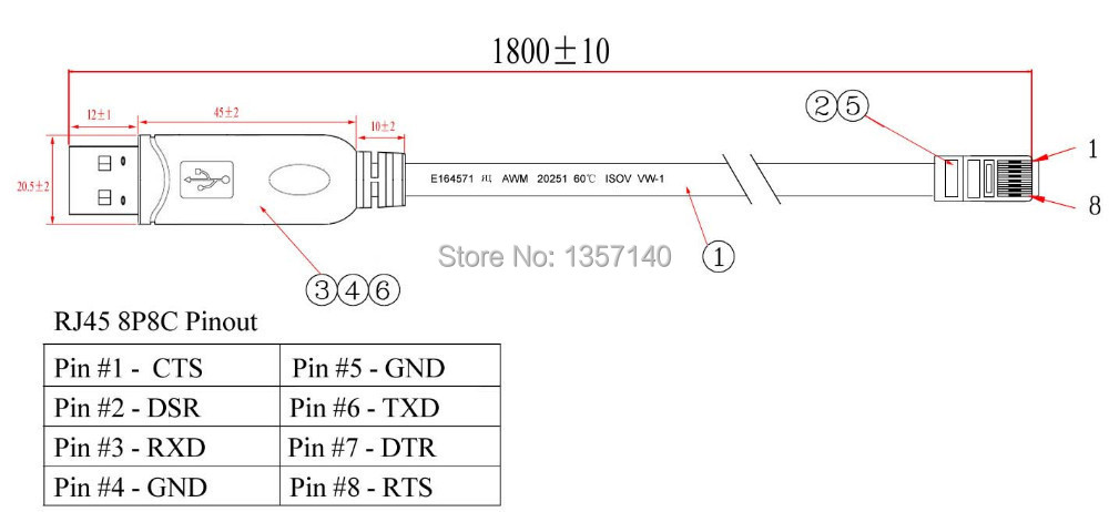 18m FTDI Chip USB to RS232 Console Rollover Cable for