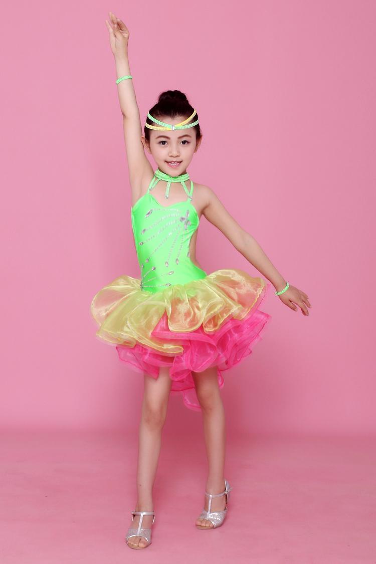 Color brillante etapa Disfraces de niñas Latino Ropa de baile vestido de lentejuelas niños Latino salsa Vestidos Samba trajes