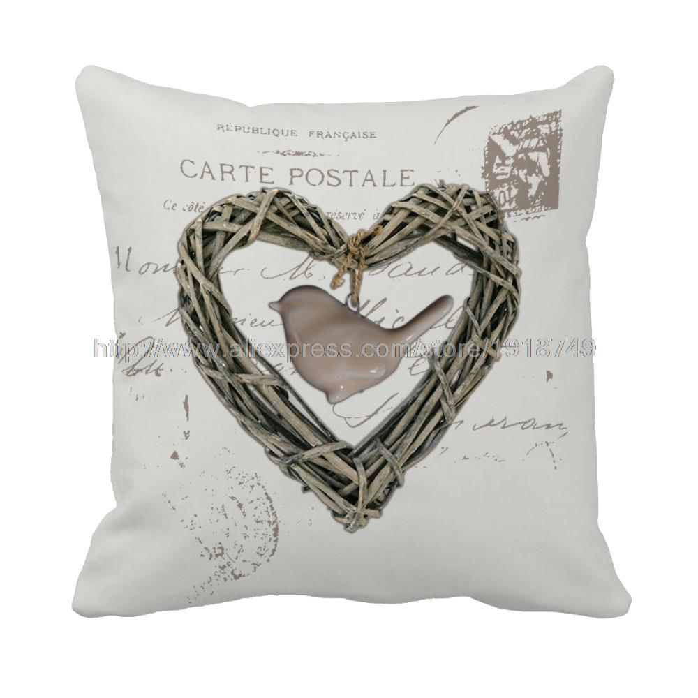 Bird In The Heart Shape Printed Custom Wedding Decorative Sofa Cushion Cover  Square Vintage Grey Throw Pillow Case For Love