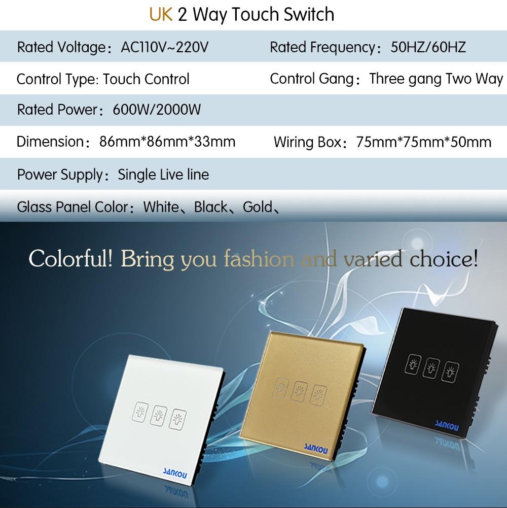 Cnskou Eu Standard Wall Smart Touch Switch For Led Light 3gang Two Way Sensor Show