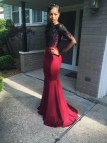 Maroon Long Sleeve Mermaid Prom Dresses