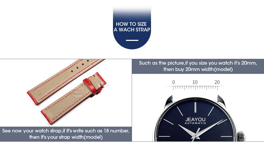 d257348d633 JEAYOU Venda Quente Pulseira De Relógio de Couro Para As Mulheres Para  Tissot Mido Casio Branco Vermelho Rosa azul Roxo 14 16 18 20mm Sem Fivela