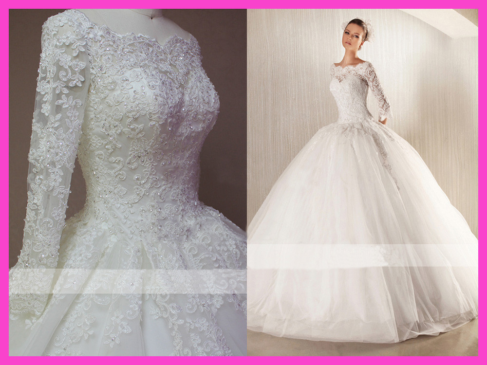 2015 Winter Ball Gown Floor Length Beaded Lace Long Sleeve