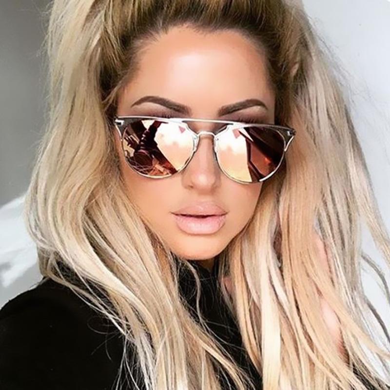 2016 Fashion Brand Designer Cat Eye Mirror Rose Gold
