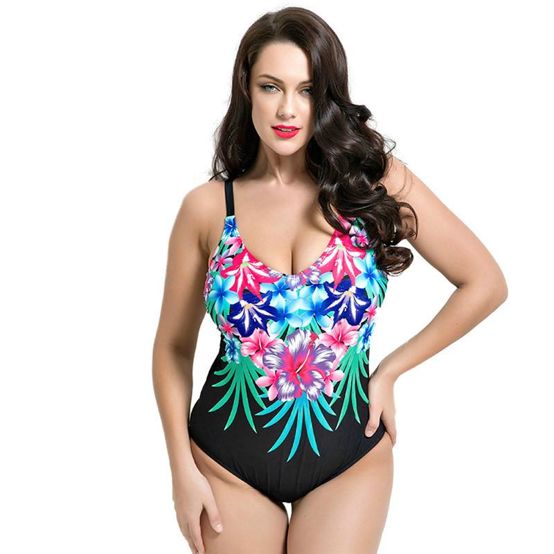 7b55e23cd nova Mulher Sexy do Ajuste 50 s Estilo One Pieces Maiô Plus Size Swimwear  Copo 80DE Ombro cinto de Emagrecimento Maiô Impressão planta ...