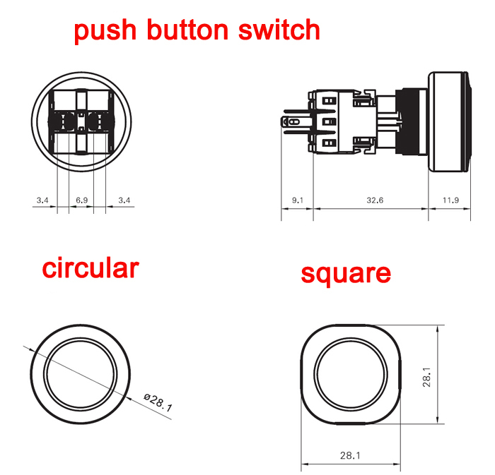 HABOO dia.16/22mm illuminated push button switch latching