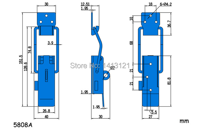 ①tfree shipping 304 Stainless steel buckle latch spring snap ... on