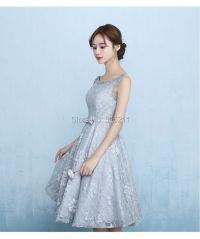 Silver Lace Bridesmaid Dresses Chiffon ...