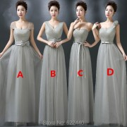gray tulle bridesmaid dresses four